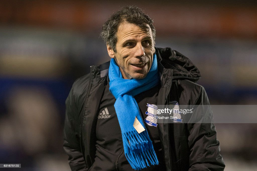 Gianfranco Zola, manager of Birmingham City looks on after the Sky Bet Championship match between Birmingham City and Nottingham Forest at St Andrews Stadium on January 14, 2017 in Birmingham, England (Photo by Nathan Stirk/Getty Images).