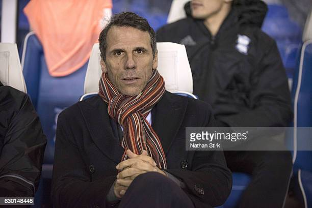 Gianfranco Zola manager of Birmingham City looks on during the Sky Bet Championship match between Birmingham City and Brighton Hove Albion at St...