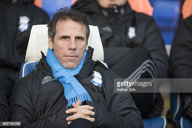 Gianfranco Zola manager of Birmingham City looks on during the Sky Bet Championship match between Birmingham City and Brentford at St Andrews Stadium...