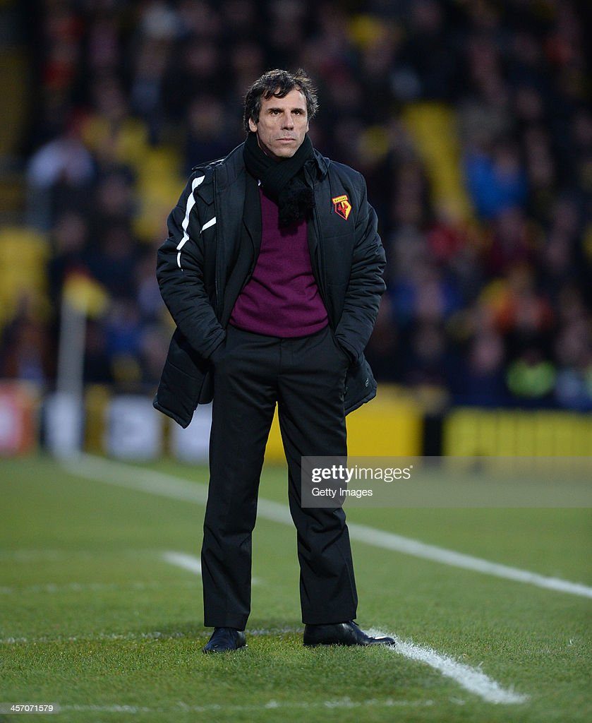 Gianfranco Zola Manager of Watford during the Sky Bet Championship match between Watford and Sheffield Wednesday at Vicarage Road on December 14, 2013 in Watford, England,