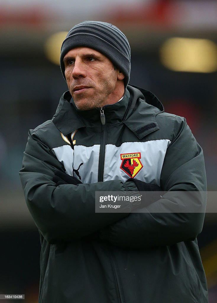 <a gi-track='captionPersonalityLinkClicked' href=/galleries/search?phrase=Gianfranco+Zola&family=editorial&specificpeople=213951 ng-click='$event.stopPropagation()'>Gianfranco Zola</a>, Manager of Watford looks on prior to kick off during the npower Champions match between Watford and Blackpool at Vicarage Road on March 9, 2013 in Watford, England.