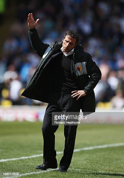 Gianfranco Zola manager of Watford reacts during the npower Championship match between Watford and Leeds United at Vicarage Road on May 4 2013 in...