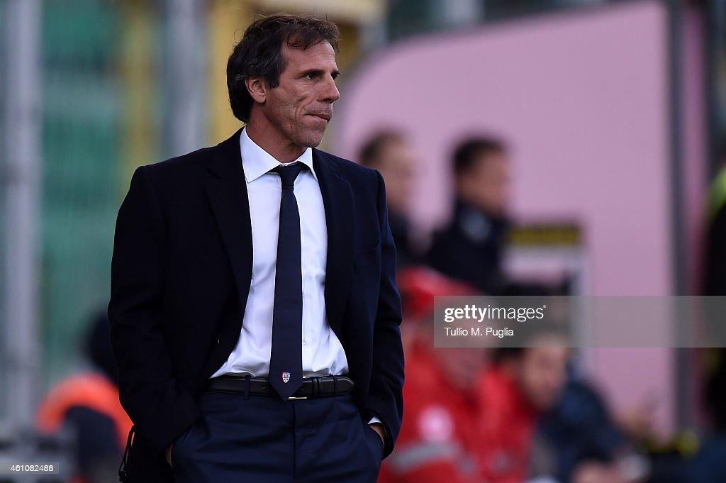 Gianfranco Zola new head coach of Cagliari looks on during the Serie A match between US Citta di Palermo and Cagliari Calcio at Stadio Renzo Barbera...