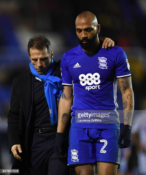 Gianfranco Zola of Birmingham City consoles Emilio Nsue after defeat in the Sky Bet Championship match between Birmingham City and Leeds United at St...