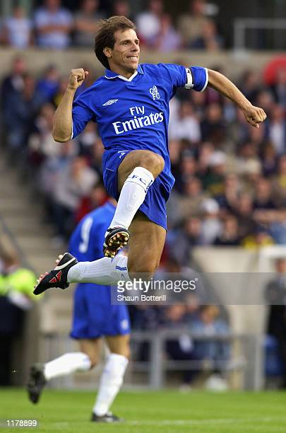 Gianfranco Zola of Chelsea celebrates during the preseason friendly between Oxford United and Chelsea at the Kassam Stadium in Oxford England on July...
