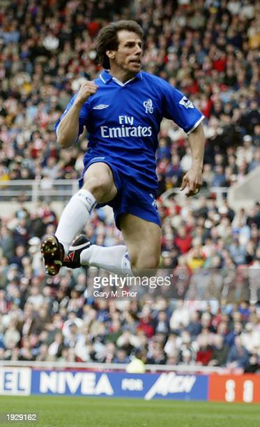 Gianfranco Zola of Chelsea celebrates scoring the equalising goal during the FA Barclaycard Premiership match between Sunderland and Chelsea held on...