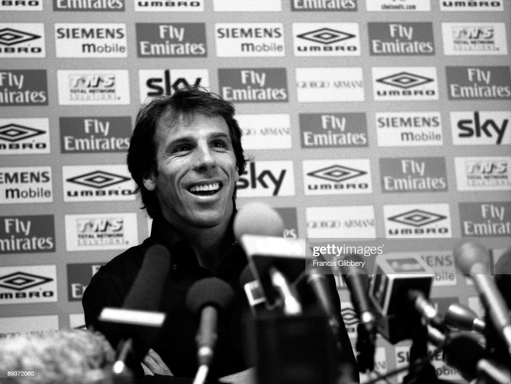 Gianfranco Zola of Chelsea gives the press his reasons for leaving Chelsea FC as he was to receive a standing ovation at the end of his conference, something for which no other player has ever received before during a press Conference held in June 2003 at Stamford Bridge, in London.