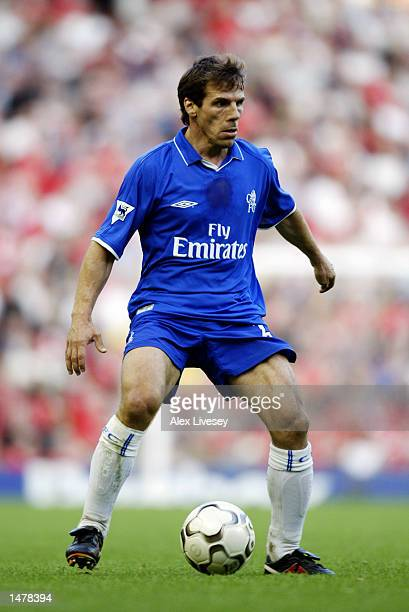 Gianfranco Zola of Chelsea in action during the FA Barclaycard Premiership match between Liverpool and Chelsea on October 6 2002 played at Anfield in...