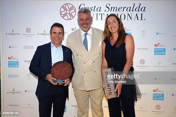 Gianfranco Zola Sandrine Testud and Darren Clarke attend the Gala Dinner during The Costa Smeralda Invitational golf tournament at Pevero Golf Club...