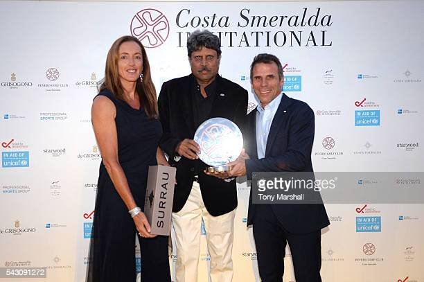 Gianfranco Zola Sandrine Testud and Kapil Dev attend the Gala Dinner during The Costa Smeralda Invitational golf tournament at Pevero Golf Club Costa...