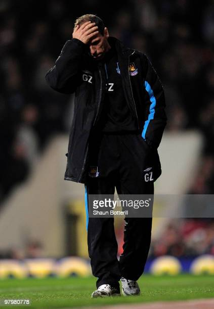 Gianfranco Zola the West Ham United manager looks dejected during the Barclays Premier League match between West Ham United and Wolverhampton...