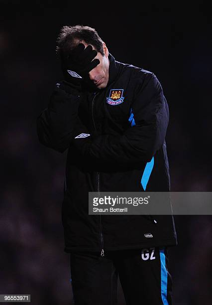 Gianfranco Zola the West Ham United shows his disappointment on the touchline during the FA Cup sponsored by EON 3rd Round match between West Ham...