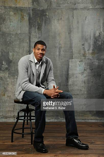Gianis Antentekounmpo of the Milwaukee Bucks poses for portraits during the NBAE Circuit as part of 2015 AllStar Weekend at the Sheraton Times Square...