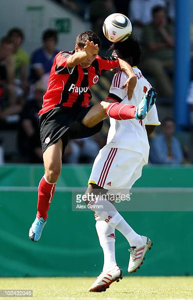 GianLuca Asta of Frankfurt jumps for a header with Danny Vieira da Costa of Leverkusen during the final of the German B juniors championship between...