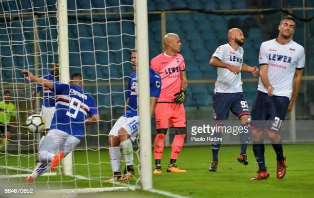 Gianluca Caprari goal 30 during the Serie A match between UC Sampdoria and FC Crotone at Stadio Luigi Ferraris on October 21 2017 in Genoa Italy