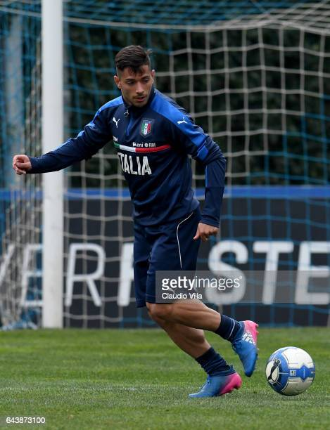 Gianluca Caprari of Italy in action during the training session at the club's training ground at Coverciano on February 22 2017 in Florence Italy