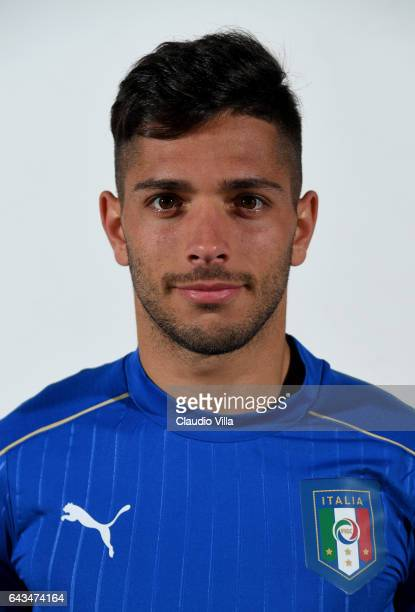 Gianluca Caprari of Italy poses during the official portrait session at Coverciano on February 21 2017 in Florence Italy