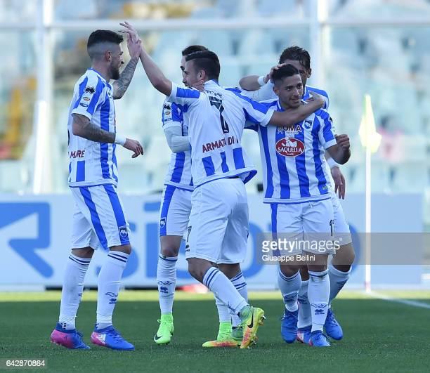 Gianluca Caprari of Pescara Calcio celebrates after scoring the goal 20 during the Serie A match between Pescara Calcio and Genoa CFC at Adriatico...