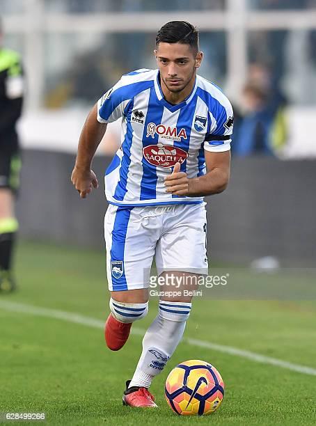 Gianluca Caprari of Pescara Calcio in action during the Serie A match between Pescara Calcio and Cagliari Calcio at Adriatico Stadium on December 4...