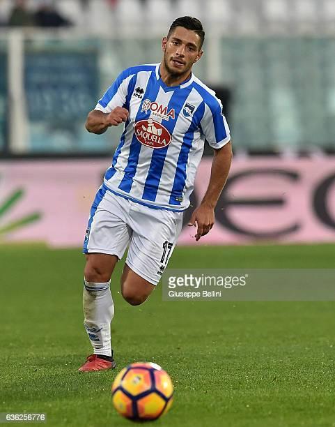 Gianluca Caprari of Pescara Calcio in action during the Serie A match between Pescara Calcio and Bologna FC at Adriatico Stadium on December 18 2016...