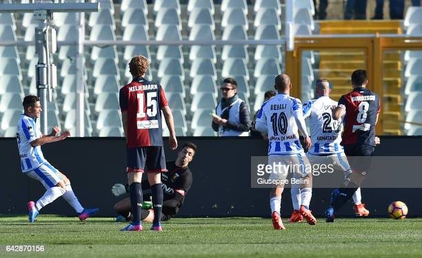 Gianluca Caprari of Pescara Calcio scores the goal 20 during the Serie A match between Pescara Calcio and Genoa CFC at Adriatico Stadium on February...