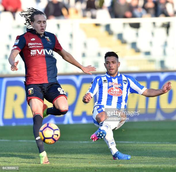 Gianluca Caprari of Pescara Calcio scores the goal 40 during the Serie A match between Pescara Calcio and Genoa CFC at Adriatico Stadium on February...