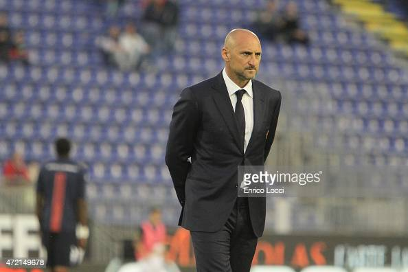 Gianluca Festa coach of Cagliari looks on during the Serie A match between Cagliari Calcio and Parma FC at Stadio Sant'Elia on May 4 2015 in Cagliari...