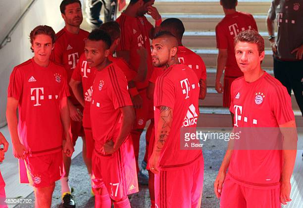 Gianluca Gaudino Julien Green Arturo Vidal and Thomas Mueller of Bayern Muenchen wait at the players' tunnel before the Audi Cup final match between...