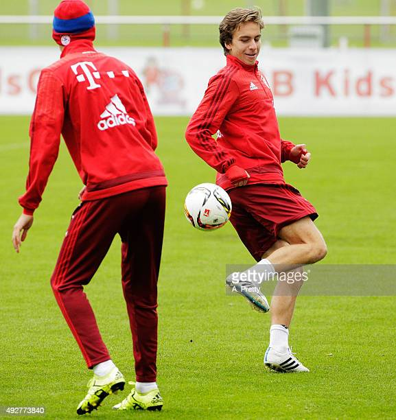 Gianluca Gaudino of Bayern Muenchen in action during FC Bayern Muenchen training on October 15 2015 in Munich Germany