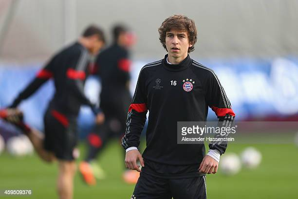 Gianluca Gaudino of Bayern Muenchen looks on during a Bayern Muenchen training session prior to their UEFA Champions League match against Manchester...