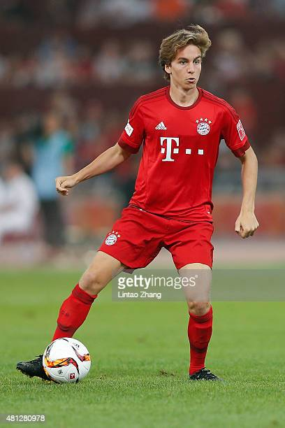 Gianluca Gaudino of FC Bayern Muenchen runs with the ball during the international friendly match between FC Bayern Muenchen and Valencia FC during...