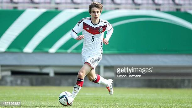 Gianluca Gaudino of Germany controls the ball during to the UEFA European Under19 Championship Elite Round match between U19 Germany and U19 Ireland...