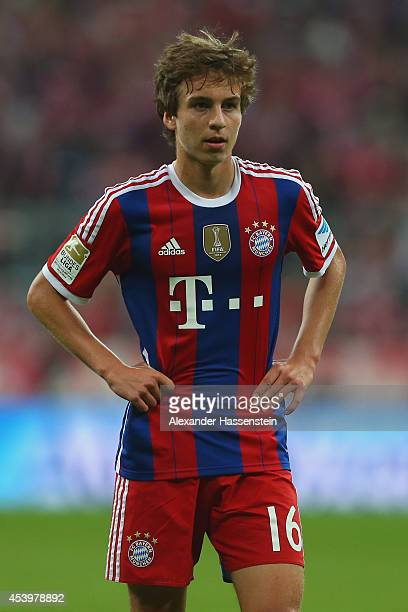 Gianluca Gaudino of Muenchen looks on during the Bundesliga match between FC Bayern Muenchen and VfL Wolfsburg at Allianz Arena on August 22 2014 in...