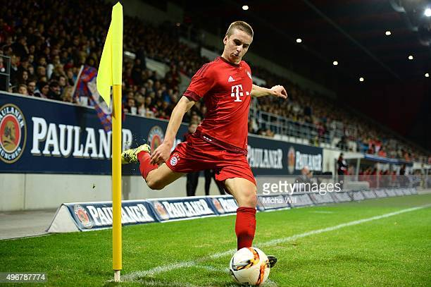 Gianluca Gaudino of Muenchen shoots the ball during the friendly match between FC Bayern Muenchen and Paulaner Traumelf at Continental Arena on...