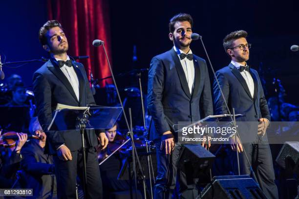Gianluca Ginobile Ignazio Boschetto and Piero Barone of Il Volo perform on stage at Mediolanum Forum on May 9 2017 in Milan Italy