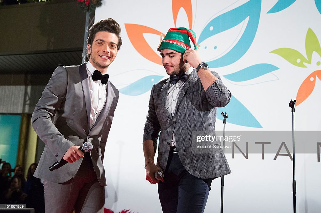 Gianluca Ginoble and Ignazio Boschetto of Il Volo perform during the HGTV Holiday House KickOff at Santa Monica Place with performance by Il Volo at...