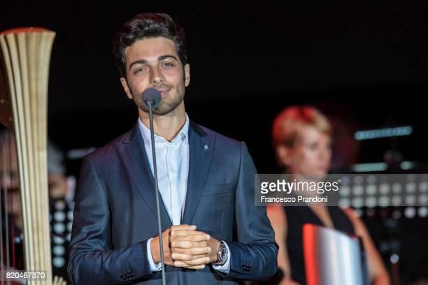 Gianluca Ginoble of Il Volo performs on stage during Lucca Summer Festival 2017 on July 21 2017 in Lucca Italy
