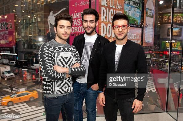 Gianluca Ginoble Piero Barone and Ignazio Boschetto of Il Volo visit 'Extra' at HM Times Square on December 2 2015 in New York City
