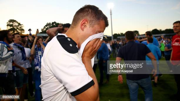 Gianluca Korte of Mannheim looks dejected after the penalty shootout during the Relegation Regionalliga Play Off second leg match at Hensch Arena on...