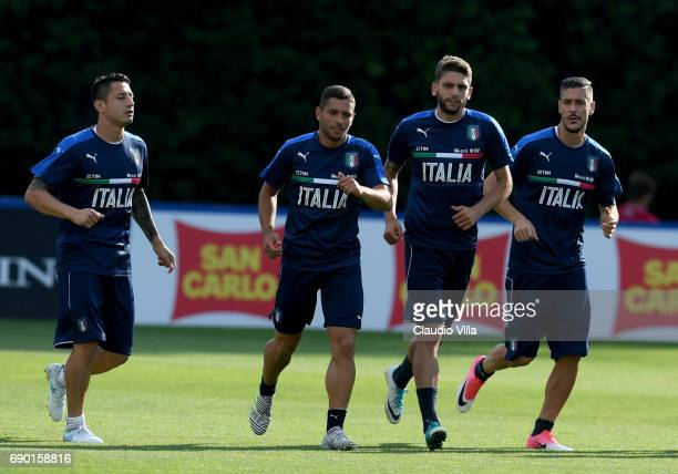 Gianluca Lapadula Gianluca Caprari Domenico Berardi and Diego Falcinelli of Italy in action during the training session at Coverciano at Coverciano...