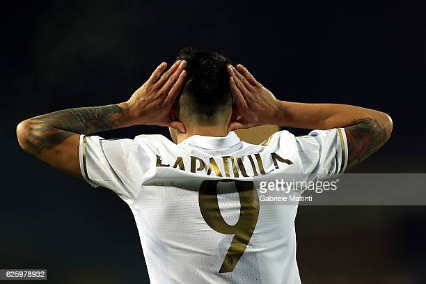 Gianluca Lapadula of AC Milan celebrates after scoring his second goal during the Serie A match between Empoli FC and AC Milan at Stadio Carlo...