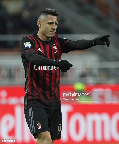 Gianluca Lapadula of AC Milan celebrates his goal during the Serie A match between AC Milan and AC ChievoVerona at Stadio Giuseppe Meazza on March 4...