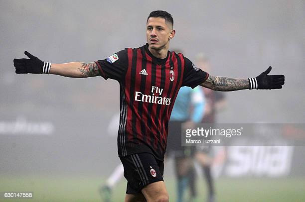 Gianluca Lapadula of AC Milan gestures during the Serie A match between AC Milan and Atalanta BC at Stadio Giuseppe Meazza on December 17 2016 in...