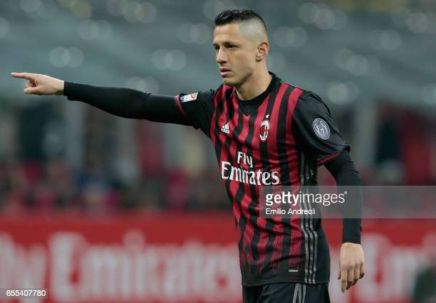 Gianluca Lapadula of AC Milan gestures during the Serie A match between AC Milan and Genoa CFC at Stadio Giuseppe Meazza on March 18 2017 in Milan...