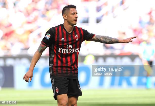 Gianluca Lapadula of AC Milan gestures during the Serie A match between AC Milan and Empoli FC at Stadio Giuseppe Meazza on April 23 2017 in Milan...