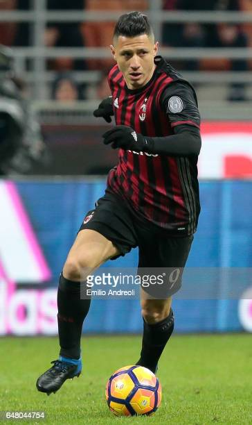 Gianluca Lapadula of AC Milan in action during the Serie A match between AC Milan and AC ChievoVerona at Stadio Giuseppe Meazza on March 4 2017 in...