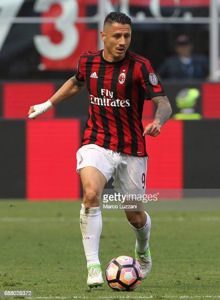 Gianluca Lapadula of AC Milan in action during the Serie A match between AC Milan and Bologna FC at Stadio Giuseppe Meazza on May 21 2017 in Milan...