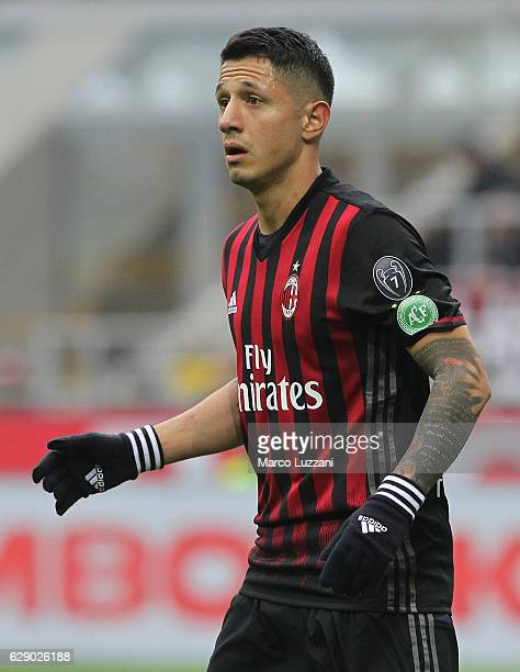 Gianluca Lapadula of AC Milan looks on during the Serie A match between AC Milan and FC Crotone at Stadio Giuseppe Meazza on December 4 2016 in Milan...