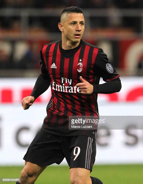 Gianluca Lapadula of AC Milan looks on during the Serie A match between AC Milan and Genoa CFC at Stadio Giuseppe Meazza on March 18 2017 in Milan...