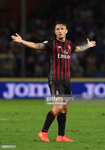 Gianluca Lapadula of AC Milan reacts during the Serie A match between UC Sampdoria and AC Milan at Stadio Luigi Ferraris on September 16 2016 in...